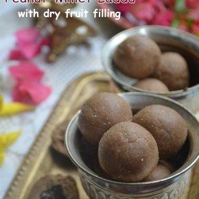Peanut & Millet laddu with dry fruit filling – Diwali sweet (noghee/butter)